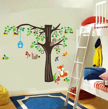 Hand Carving Children's bedroom Huge Forest Fox Squirrel Animals Wall Stickers