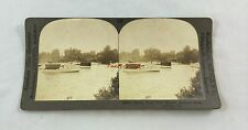 Antique Stereoview Photograph Motor Boat Club Harbor Chicago IL Jackson Park