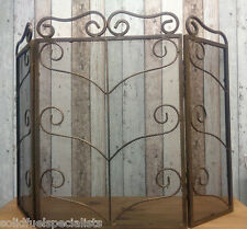 HEAVY DUTY ANTIQUE BRASS FIRE SCREEN 3  FOLD SCREEN HAND FORGED STUNNING DESIGN
