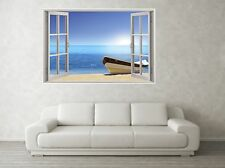 Beach Front Boat Scene 3D Full Colour Window Home Wall Art Stickers Mural Decal