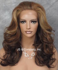 Brown GOLD mix HEAT SAFE Lace Front Wig Curly Long Layered NBY 4-27-GO