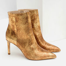 ZARA GOLD SHINY REAL LEATHER POINTED HIGH HEEL ANKLE BOOTS EUR 36/USA 6/UK 3