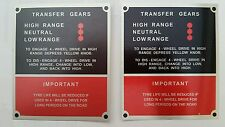 Land Rover series 3 instruction plate for transfer gears and tyre wear