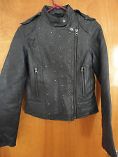 Rare Ed Hardy Tiger Tattoo Quilted Studded Blue Leather Slim Biker Moto Jacket S