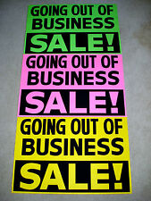 3 GOING OUT OF BUSINESS SALE Window Signs 2x3 Pink/Green/Yellow Paper
