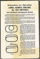 [55642] 1957 LIONEL TRAINS REMOTE CONTROL No. 022 SWITCHES INSTRUCTIONS