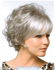 New Fashion old ladies Short Grey mixed  Party Curly hair Wigs+wig cap