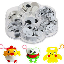 128pcs Sew-on Wiggly Wobbly Googly Eyes Scrapbooking Crafts 8-24mm NEW