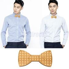 Fashion Mens Wooden Bow Tie Wood Bowtie Magnet Adults Necktie Grid Print