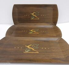 3 Hasko Haskelite Trays Lithographic Wood Serving Lap Party Gazelle Impala