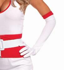 Nurse Elbow Length Gloves Full Fingered Red Trim Hospital Medical Costume G9521