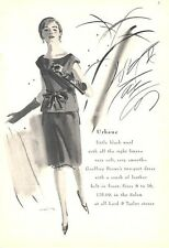 1964 Lord & Taylor Fashion Geoffrey Beene's Black Wool Two part Dress PRINT AD