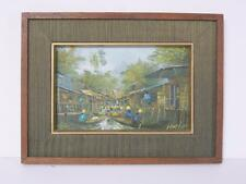 Vintage Asian Oil Painting, Artist Nogsuan Thailand Canal Market