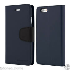 Genuine Goospery Navy Blue Leather Flip Case Wallet Cover For iPhone 5/5s & SE