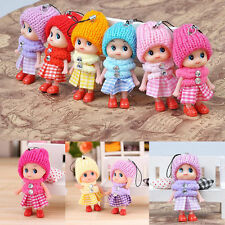 2x Cute Soft Baby Dolls Expression Interactive Mini Doll Cell Phone Keychain H&