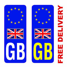 GB Euro Europe Number Plate Stickers Vinyl Stickers European White / Yellow
