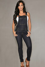 Salopette pantaloni Jeans aperto aderente tasche bottoni Denim Fitted Overall M