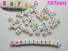 "200 White with Colourful Assorted Number ""#"" Acrylic Cube Pony Beads 7X7mm"