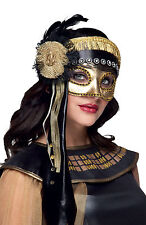 DELUXE LADIES GOLD VENETIAN EYEMASK FANCY DRESS 20s MASQUERADE BALL MASK VENICE