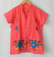 Mexican Vintage Style Shirt Top Button Front Pink Embroidered Short Sleeve XS