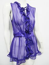 Nwt $1,253 Dolce & Gabbana Purple Silk Front Ruffle Blouse Top Size 42 US 6