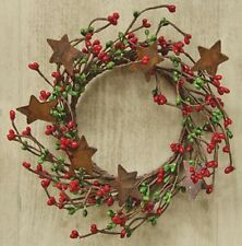 "Wreath Candle Ring 4"" Diameter - Pip Berry in Red & Green - Rusty Tin Stars"