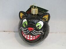Black Halloween Smiling  CAT Old World Christmas glass ornament