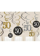 Gold and Black 50th Birthday Swirl Decorations