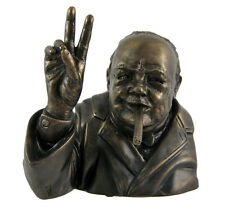 Winston Churchill V For Victory Bronze Finished Bust Statue