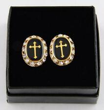 Men's Designer 14KT Gold Ep Black Onyx Enamel Cross & Rhinestone Cuff Links