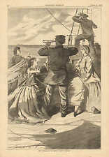 "Winslow Homer, Approach Of The British Pirate ""Alabama"" 1863 Antique Art Print"