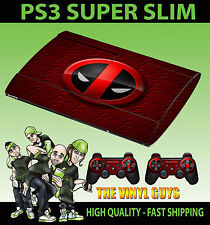 PLAYSTATION PS3 SUPER SLIM DEADPOOL LOGO 02 MERC WITH A MOUTH SKIN STICKER