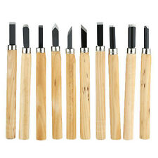 10pcs Wood Handle Carving Mini Chisels Kit Handy Cutting Burin Tools Set GYTH