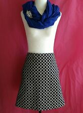 Mexx Womens Size 14 Black & White Patterned Skirt 2 Front Pockets 100% Cotton