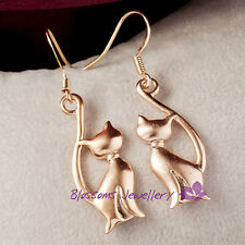 18K 18ct Rose GOLD Filled Frosted CUTE Kitty CAT Dangle EARRINGS 2 COLOR ES336-L