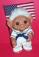 "TROLL DOLL 9"" DAM NORFIN WHITE HAIRED NAVY BOY W/SAILOR OUTFIT 1977 DENMARK NWOT"