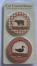 Bear Duck Car CoasterStone Coasters Cup Holders Set 2 Hunting Waterfowl Pub New