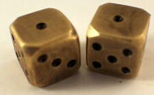 Solid Brass Pair Of Dice With Rounded Edges And Antique Patina
