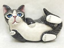 Wooden Cat Playful Hand Carved&Painted Wood Home Decor Sculpture  #N1802
