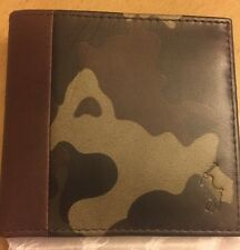 Polo Ralph Lauren Camo Camouflage Bifold   Wallet  Leather Brown / Green