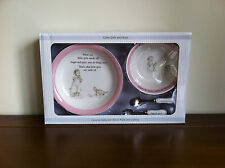 Baby Girl Pink Keepsake Ceramic Bowl Plate & Cutlery Gift Set Suger & Spice