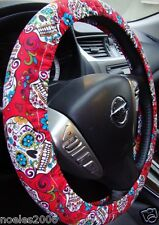 Handmade Steering Wheel Cover Day of the Dead Skulls Folkloric Red