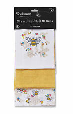 Cooksmart Busy Bees Tea Towels Pack of 3 Yellow  Cotton Drying Cloth Textile New
