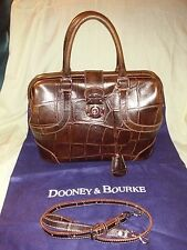 DOONEY & BOURKE ALTO CROC BROWN LEATHER DOME DOCTOR LOCKING BAG W/KEY RARE