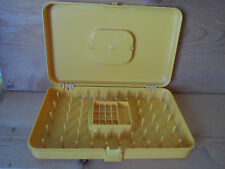 Vintage Wilson Wil-Hold Plastic Sewing Box Thread Bobbin Case - Golden Yellow