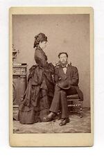 CDV PHOTO Carte de visite J. LACROIX à Genève - Couple Robe Mode Vers 1870