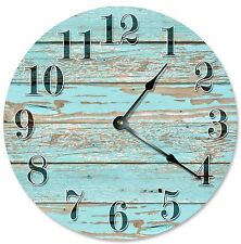 "OLD BLUE WORN Wood Clock - Large 10.5"" Wall Clock - 2112"