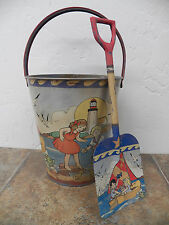 Vintage Look Tin Food Safe  Beach Sand Pail Bucket w/ Shovel Ocean Toy