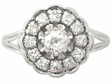 0.91 ct Diamond & 18 ct White Gold Cluster Ring - Antique Circa 1920 Size Q1/2