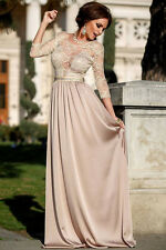 Champagne Lace Embroidered Maxi Cocktail Prom Evening Dress Size UK 10-12